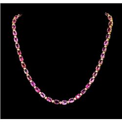38.00 ctw Pink Sapphire and Diamond Necklace - 14KT Yellow Gold