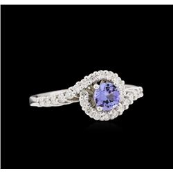 0.50 ctw Tanzanite and Diamond Ring - 14KT White Gold