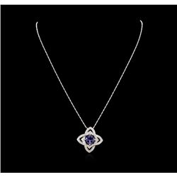 14KT White Gold 2.78 ctw Tanzanite and Diamond Pendant with Chain