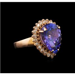 14KT Rose Gold 6.11 ctw Tanzanite and Diamond Ring