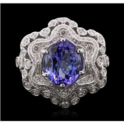 18KT White Gold 3.92 ctw Tanzanite and Diamond Ring