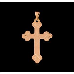 Engraved Cross Pendant - 14KT Rose Gold