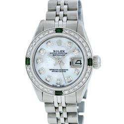 Rolex Stainless Steel MOP Diamond and Emerald DateJust Ladies Watch