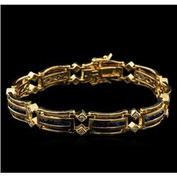 4.20 ctw Sapphire and Diamond Bracelet - 14KT Yellow Gold