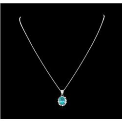 3.20 ctw Apatite and Diamond Pendant With Chain - 14KT White Gold