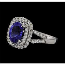 1.69 ctw Tanzanite and Diamond Ring - 18KT White Gold