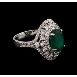 2.65 ctw Emerald and Diamond Ring - 14KT White Gold