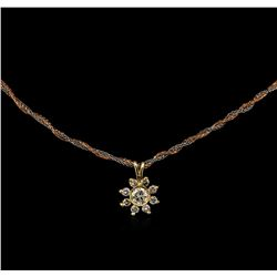 0.38 ctw Diamond Flower Pendant - 14KT Tri-Tone Gold
