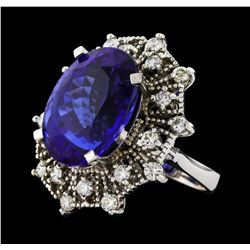 GIA Cert 19.97 ctw Tanzanite and Diamond Ring - 14KT White Gold