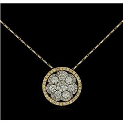 14KT Two-Tone Gold 2.19 ctw Diamond Pendant With Chain