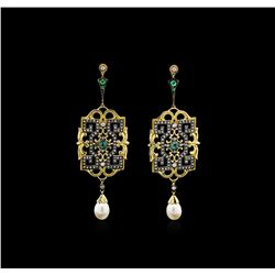 0.52 ctw Emerald, Pearl, and Diamond Earrings - 18KT Yellow Gold