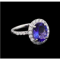 3.90 ctw Tanzanite and Diamond Ring - Platinum