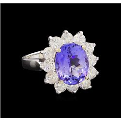 14KT White Gold 3.80 ctw Tanzanite and Diamond Ring