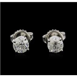 1.17 ctw Diamond Stud Earrings - 14KT White Gold