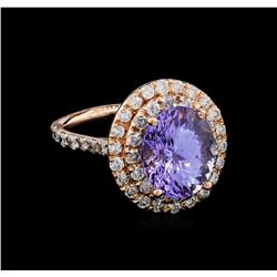 5.53 ctw Tanzanite and Diamond Ring - 14KT Rose Gold
