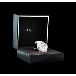 Chanel White Ceramic Diamond J12 Watch