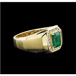 1.36 ctw Emerald and Diamond Ring - 14KT Yellow Gold