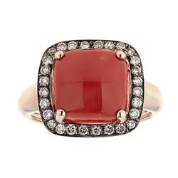 4.58 ctw Coral and Diamond Ring - 14KT Rose Gold