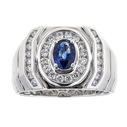 0.87 ctw Sapphire and Diamond Ring - 14KT White Gold