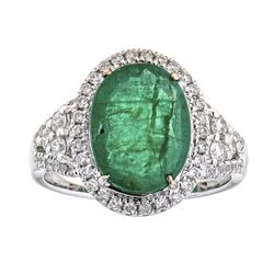 2.89 ctw Emerald and Diamond Ring - 18KT White Gold