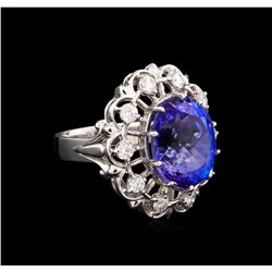 12.45 ctw Tanzanite and Diamond Ring - 14KT White Gold