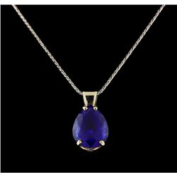 8.54 ctw Tanzanite Pendant With Chain - 14KT White Gold