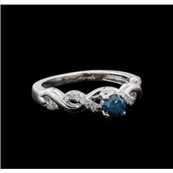 0.49 ctw Blue Diamond Ring - 14KT White Gold