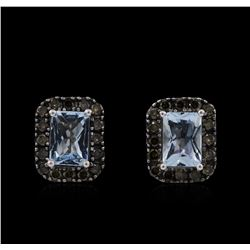 1.90 ctw Aquamarine and Diamond Earrings - 14KT White Gold