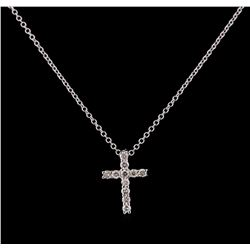 0.30 ctw Diamond Cross Pendant With Chain - 14KT White Gold