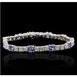 14KT White Gold 5.20 ctw Tanzanite and Diamond Bracelet