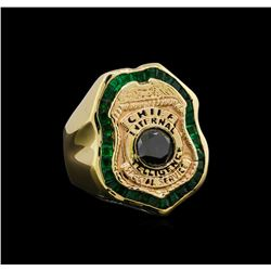 1.50 ctw Black Diamond and Emerald Ring - 14KT Yellow Gold