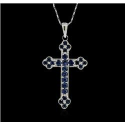 18KT White Gold 1.25 ctw Sapphire Cross Pendant With Chain