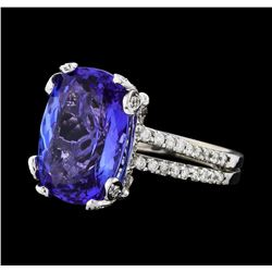 GIA Cert 8.63 ctw Tanzanite and Diamond Ring - 14KT White Gold