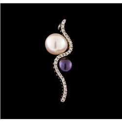 0.15 ctw Diamond and Pearl Pendant - 14KT White Gold