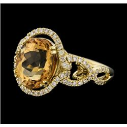 4.66 ctw Tourmaline and Diamond Ring - 14KT Yellow Gold