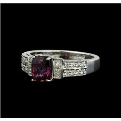 1.44 ctw Purple Sapphire and Diamond Ring - 18KT White Gold