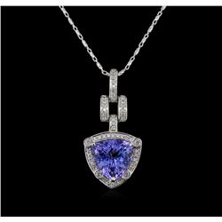4.71 ctw Tanzanite and Diamond Pendant With Chain - 14KT White Gold