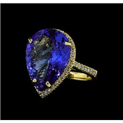 12.12 ctw Tanzanite and Diamond Ring - 14KT Yellow Gold