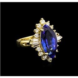 4.80 ctw Tanzanite and Diamond Ring - 14KT Yellow Gold