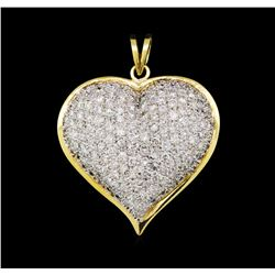 5.10 ctw Diamond Heart Pendant - 14KT White and Yellow Gold