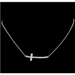 0.55 ctw Diamond Cross Necklace - 18KT White Gold