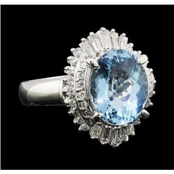 2.60 ctw Aquamarine and Diamond Ring - Platinum