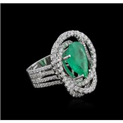 14KT White Gold 4.27 ctw Emerald and Diamond Ring