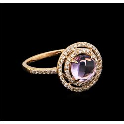 1.21 ctw Amethyst and Diamond Ring - 14KT Rose Gold