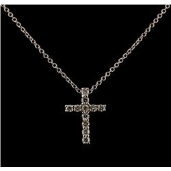 0.34 ctw Diamond Cross Pendant With Chain - 14KT White Gold