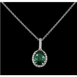 2.19 ctw Emerald and Diamond Pendant With Chain - 14KT White Gold