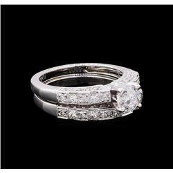 1.70 ctw Diamond Wedding Ring Set - 18KT White Gold