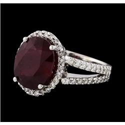 7.41 ctw Ruby and Diamond Ring - 14KT White Gold