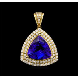 14KT Yellow Gold 6.85 ctw Tanzanite and Diamond Pendant