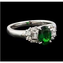 1.14 ctw Green Garnet and Diamond Ring - 18KT White Gold